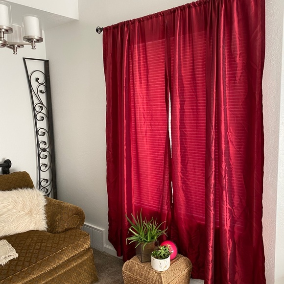 Red Semi-Sheer Curtains (6x) 54Wx84L Rod Pocket